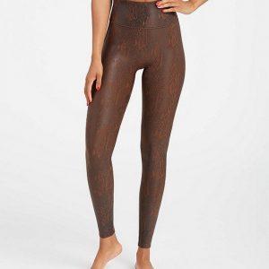 Spanx Faux Leather Brown Snakeskin Leggings