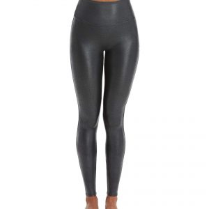 Spanx Faux Leather Pebbled Grey Leggings