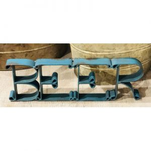 BEER Cutout Sign-Distressed Turquoise-16136