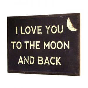 I Love You To The Moon Wall Decor Burlap