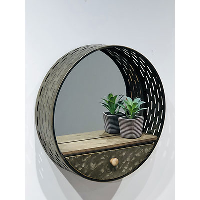 Round Wall Mirror with Drawer