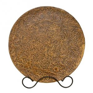 18 inch Western Platter with Stand – Leather Finis