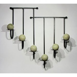 6 Plate Iron Candle Sconce-Textured Bronze-19022